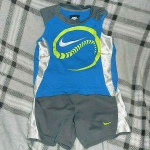 Nike Matching Sets - Boys 18MOS NIKE Tank Top Shorts Outfit Gray Blue